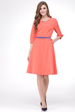 Купить Платье Verita Moda 504 коралловый, Вечерние платья, 504, коралловый, Полиэстер 95%, спандекс 5%, Мультисезон