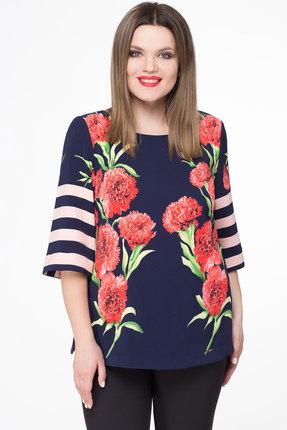 Купить Блузка Дали 3152 синий с красным, Блузки, 3152, синий с красным, вискоза 51%, пэ 49%, Мультисезон