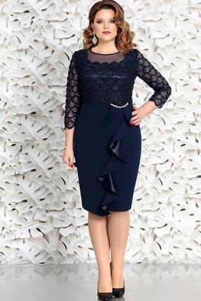 Синее темное вечернее кружевное платье