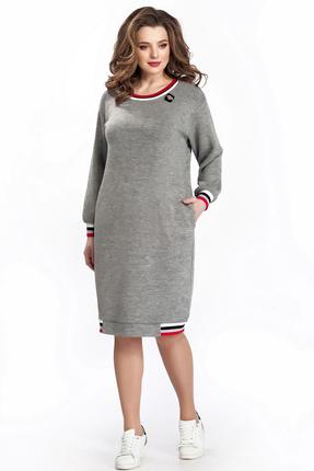 Купить Платье TEZA 151 серый с красным, Повседневные платья, 151, серый с красным, 20% шерсть 10% вискоза 70% полиэстр, Мультисезон