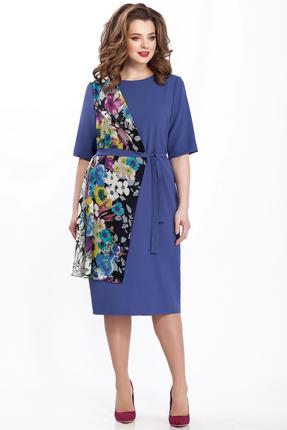Синее прямое платье TEZA