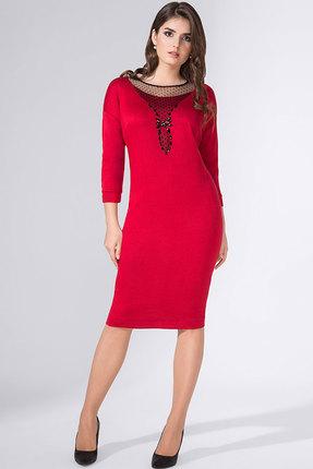 Красное вечернее трикотажное платье