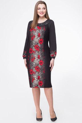 Платье БелЭкспози 607 черный с красным, Повседневные платья, 607, черный с красным, Полиэстер 71%, вискоза 27%, спандекс 2%, Мультисезон  - купить со скидкой