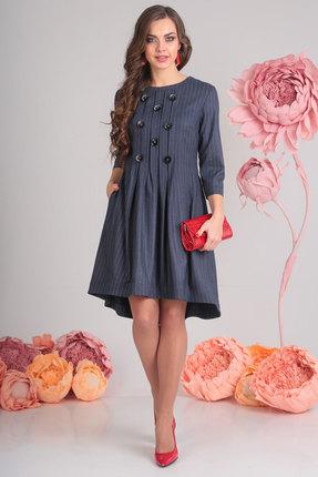 Купить Платье SandyNa 13545 синий в полоску, Повседневные платья, 13545, синий в полоску, 71% полиэстер, 23% вискоза, 6% спандекс, Мультисезон