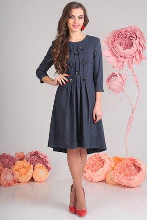 Платье SandyNa 13545-1 синий, Повседневные платья, 13545-1, синий, 71% полиэстер, 23% вискоза, 6% спандекс, Мультисезон  - купить со скидкой