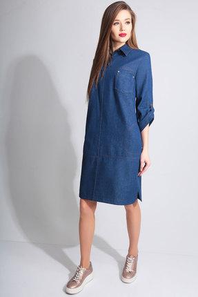Купить Платье Axxa 55042 синий, Повседневные платья, 55042, синий, п/э 71%, вискоза 23%, спандекс 6%, Мультисезон