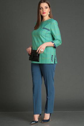 Комплект брючный Viola Style 20520 синий с зеленым