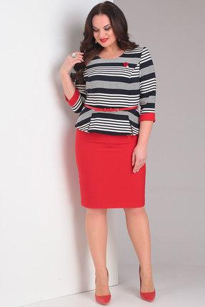 Комплект юбочный Милора-Стиль 446 черно-белый с красным