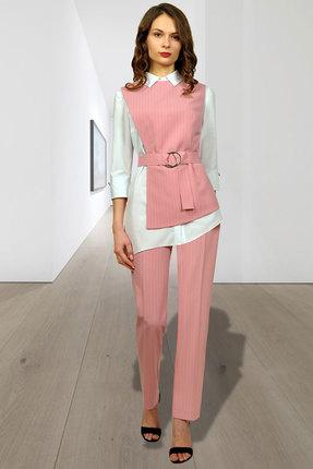 Купить Комплект брючный Миа Мода 956-2 розовый, Брючные, 956-2, розовый, Блузка: ХБ 97%, спандекс 3% Жилет и брюки: ПЭ 95 %, эластан 3% Подкладка ПЭ 100%, Мультисезон