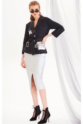 Комплект юбочный DiLiaFashion 0194 графит с серебром