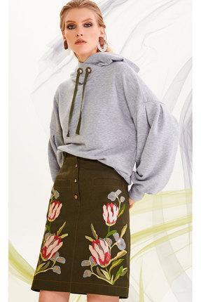 Фото 2 - Комплект юбочный DiLiaFashion 0204 меланж с хаки цвет меланж с хаки