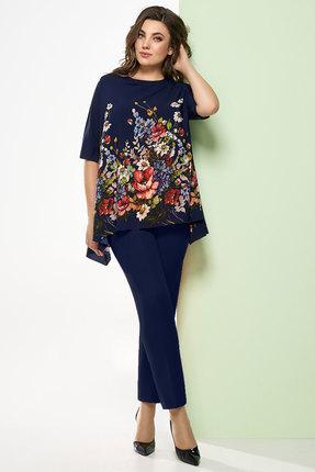 Купить Комплект брючный Denissa Fashion 1248 темно-синий, Брючные, 1248, темно-синий, Состав блузки: полиэстер 100% Состав брюк: 97% ПЭ, 3% спандекс, Лето