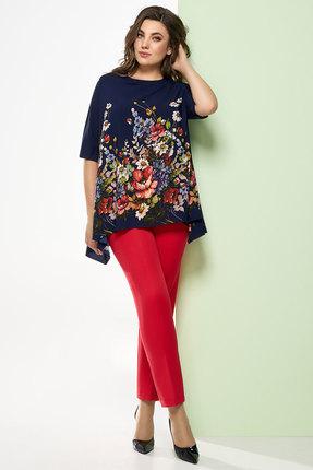 Комплект брючный Denissa Fashion 1248 синий с красным