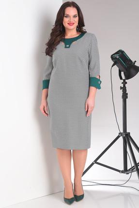 Зеленое серое платье MILANA