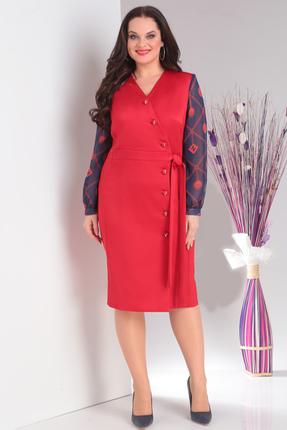 Красное вечернее платье с длинными рукавами