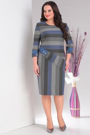 Купить Платье Milana 106 серый с синим, Повседневные платья, 106, серый с синим, Костюмно-плательная. Состав: ПЭ-30%, вискоза-68%, спандекс-2%., Мультисезон