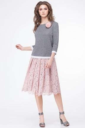 Комплект юбочный Магия Моды 1566 серый с розовым