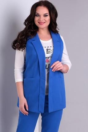Купить Комплект брючный Jurimex 1960 синий, Брючные, 1960, синий, Жилет и брюки: хлопок - 95%, эластан - 5% Блуза: полиэстер – 80%, вискоза – 20%, Мультисезон