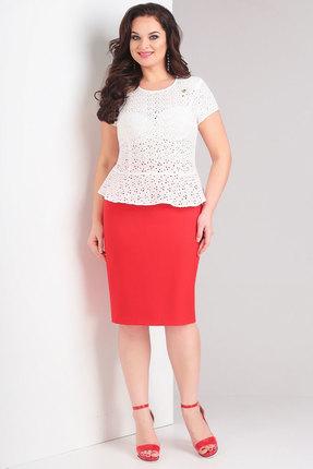 Комплект юбочный Милора-Стиль 636 белый с красным