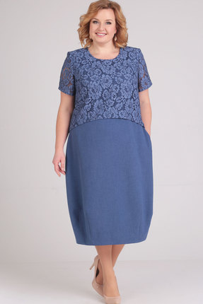 Купить Платье Elga 01-594 синий, Повседневные платья, 01-594, синий, 68% Вискоза 30% ПЭ 2% Спандекс, Мультисезон