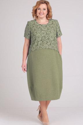 Купить Платье Elga 01-594 оливковый, Повседневные платья, 01-594, оливковый, 68% Вискоза 30% ПЭ 2% Спандекс, Мультисезон