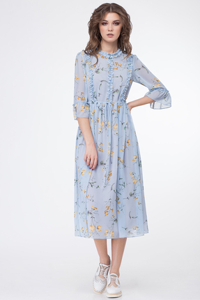 Голубое платье с принтом Магия Моды