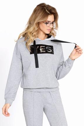 Женская серая хлопковая спортивная кофта с капюшоном