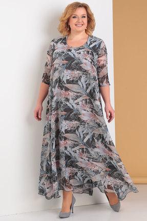 Платье Новелла Шарм 3176-6 серый с розовым