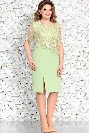 Однотонное вечернее кружевное салатовое платье