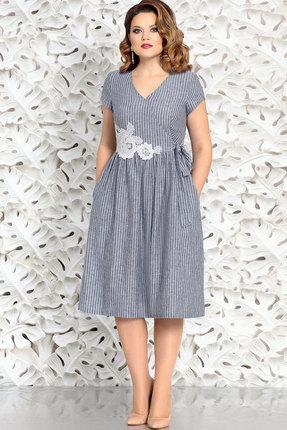 Синее кружевное платье с v вырезом и короткими рукавами