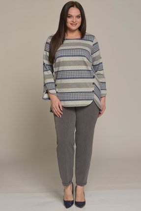 Купить Комплект брючный Lady Style Classic 1638 серый с синим, Брючные, 1638, серый с синим, Джемпер: ПЭ 62%, вискоза 38%. Брюки: ПЭ 80%, вискоза 16%, ПУ 4%., Мультисезон