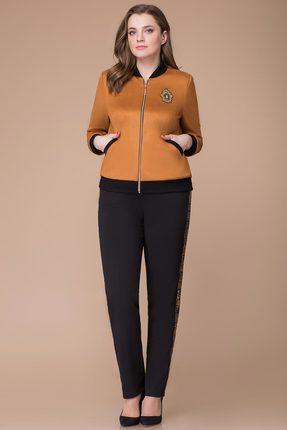 Купить Комплект брючный Svetlana Style 1211 оранжевый с черным, Брючные, 1211, оранжевый с черным, Бомбер: 95% ПЭ, 5% спандекс. Брюки: 62% вискоза, 28: ПЭ, 10% спандекс., Мультисезон