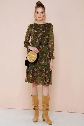 Зеленое темное трикотажное платье