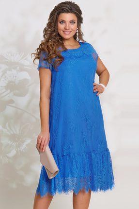 Голубое вечернее кружевное расклешенное платье