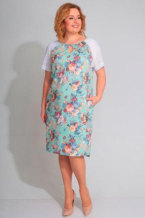 Голубое розовое платье с круглым вырезом прямого кроя
