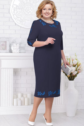 Купить Платье Ninele 7236 тёмно-синий, Вечерние платья, 7236, тёмно-синий, Полиэстер 95%, спандекс 5%, кружево - полиэстер 100%, подкладка - полиэфир 95%, Мультисезон