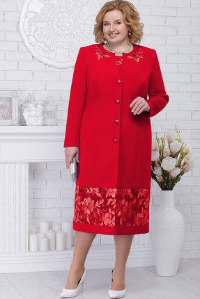 Женский красный кружевной длинный кардиган со стразами