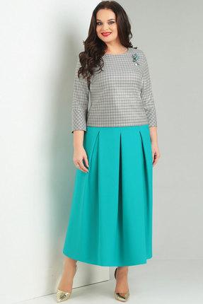 Комплект юбочный Милора-Стиль 362 бирюза с серым