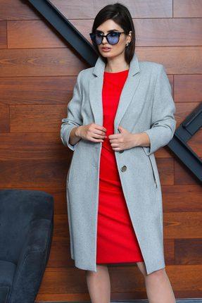 Женское серое шерстяное пальто с карманами