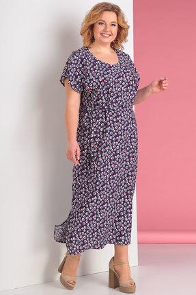 Розовое синее платье Новелла Шарм
