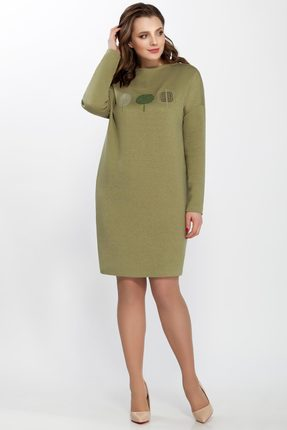 Трикотажное платье с круглым вырезом