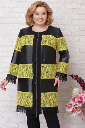 Купить Плащ Aira Style 386 черный с желтым, Плащи, 386, черный с желтым, Основная ткань эко кожа, вставки, кружево (полиэстер 100%), Мультисезон