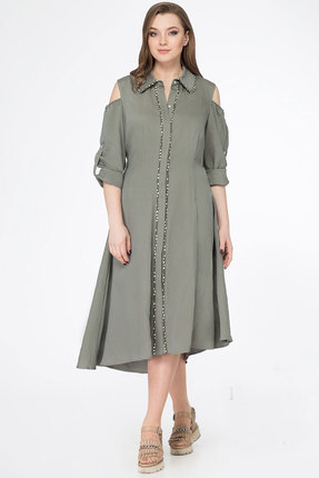 Купить Платье KetisBel 1401 хаки, Повседневные платья, 1401, хаки, 68% вискоза, 30% ПЭ, 2% спандекс, Лето