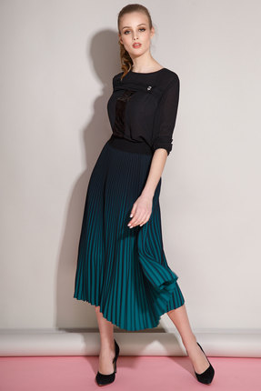 Комплект юбочный Anna Majewska 981-1159G черный с зеленым, Юбочные, 981-1159G, черный с зеленым, ПЭ-100%, Мультисезон  - купить со скидкой