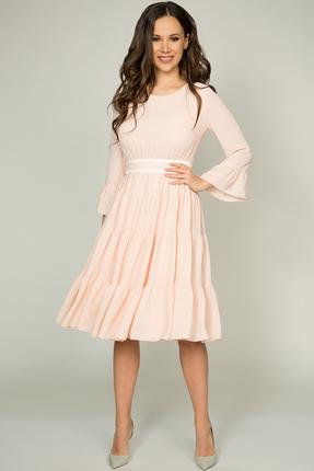Купить Платье Teffi style 1393 пудра, Повседневные платья, 1393, пудра, Ткань – креп-шифон. 100% ПЭ, Мультисезон
