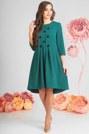 Купить Платье SandyNa 13545-5 изумруд, Повседневные платья, 13545-5, изумруд, 71% полиэстер, 23% вискоза, 6% спандекс, Мультисезон