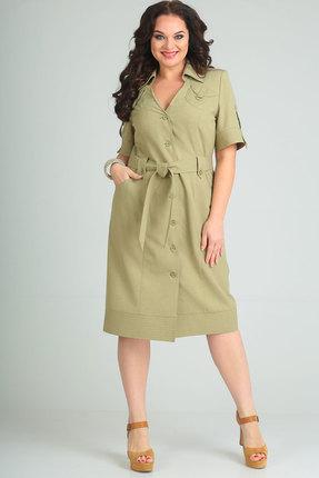 Купить Платье Andrea Style 00145 олива, Повседневные платья, 00145, олива, лен 45 %, ПЭ 55 %, Лето
