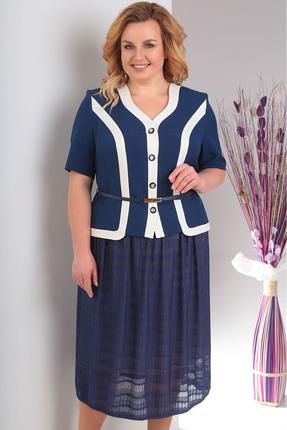 Купить Комплект юбочный Milana 113 синий, Юбочные, 113, синий, Жакет: костюмно-плательная. Состав: ПЭ-44%, вискоза-39%, лён-17%. Юбка: полотно трикотажное. Состав: ПЭ-95%, спандекс-5%., Мультисезон