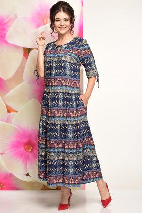Купить Платье Solomeya Lux 489 синий с красным, Повседневные платья, 489, синий с красным, текстиль Состав ткани: вискоза-100%, Мультисезон
