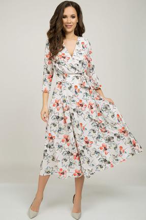 Купить Платье Teffi style 1396 лососевый, Повседневные платья, 1396, лососевый, Ткань – шифон стрейч. 95% ПЭ 5% сп., Мультисезон
